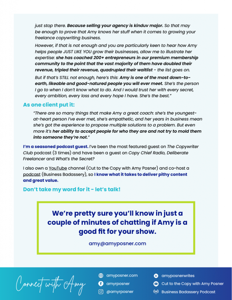 Amy Posner - The Freelance Whisperer - Podcast PDF Page 2 of 2